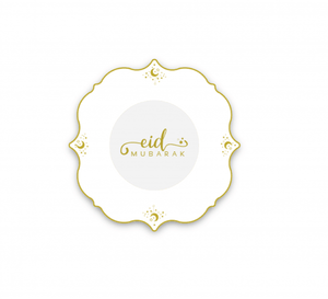 """NEW""!! Happy Eid"" Gold/Black Dessert Plates"