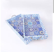 Load image into Gallery viewer, Ramadan Eid Blue Marrakech Decorative Tray Set