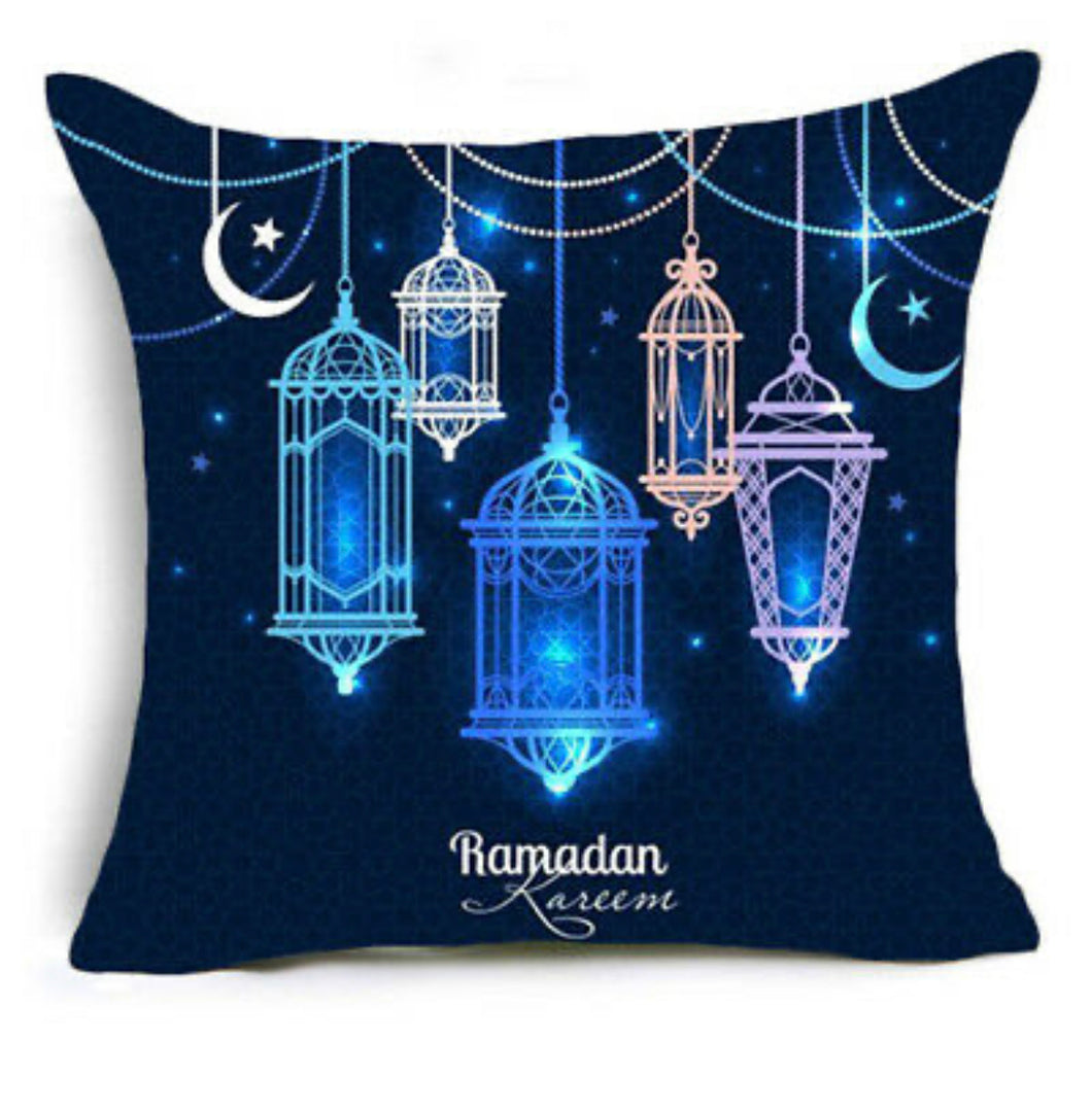 Ramadan Kareem Blue Lanterns Pillow Case