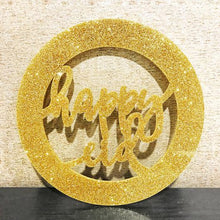 Load image into Gallery viewer, Happy Eid Acrylic Wreath Sign- Glitter Gold