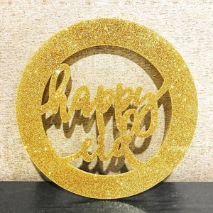 Happy Eid Acrylic Wreath Sign- Glitter Gold
