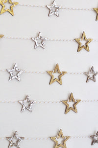 Glitter Wood Star Garland