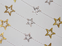 Load image into Gallery viewer, Glitter Wood Star Garland
