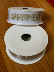 Happy Eid Gold Glitter Organza Ribbon