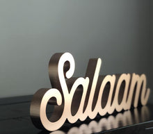 Load image into Gallery viewer, Salaam Table Sign in Rose Gold Pre Order Ships in March
