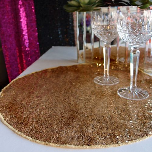 Round Table Placemats.Sequin Round Table Placemats