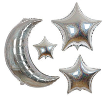 Load image into Gallery viewer, Silver Crescent Moon & Stars Balloons