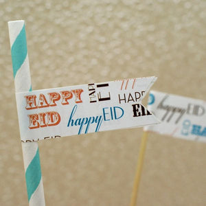 Happy Eid Flag Stickers-Typo