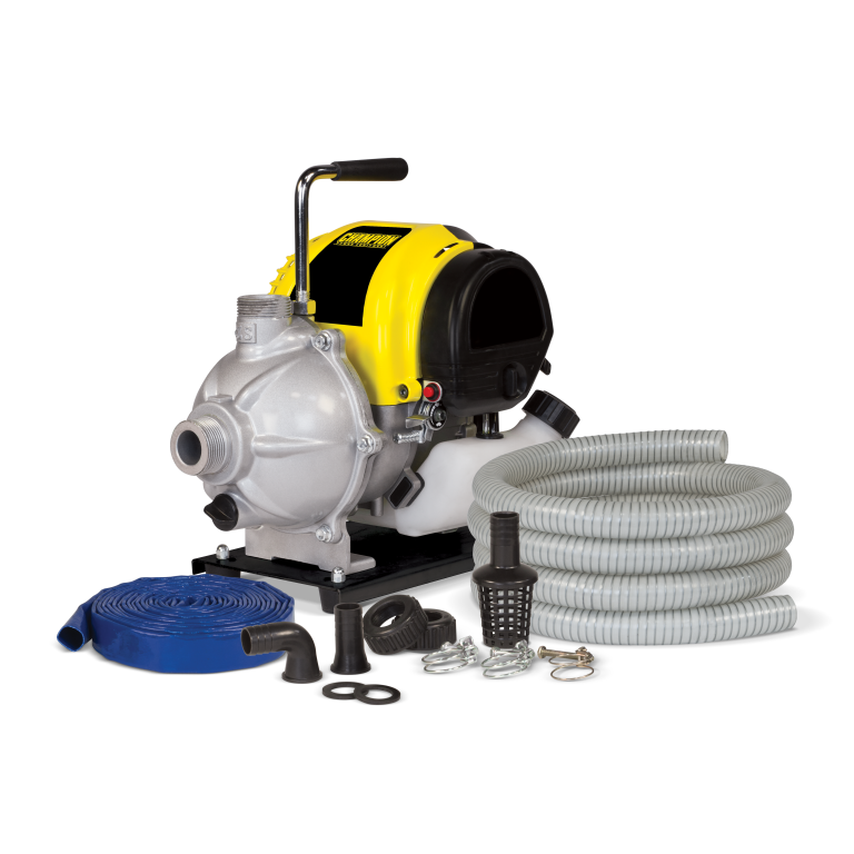 Champion 1-Inch Gas-Powered Water Transfer Pump w/ Hose Kit