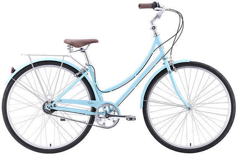a bicycle with black and sky blue in color behind white plain background