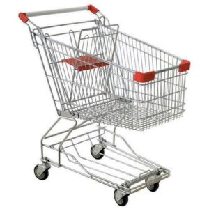 silver with red shopping cart behind white backgorund