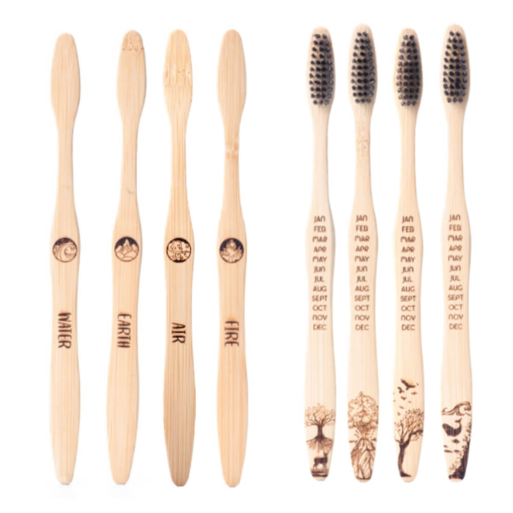4 Packs - Bamboo Toothbrush Elements Edition 4x