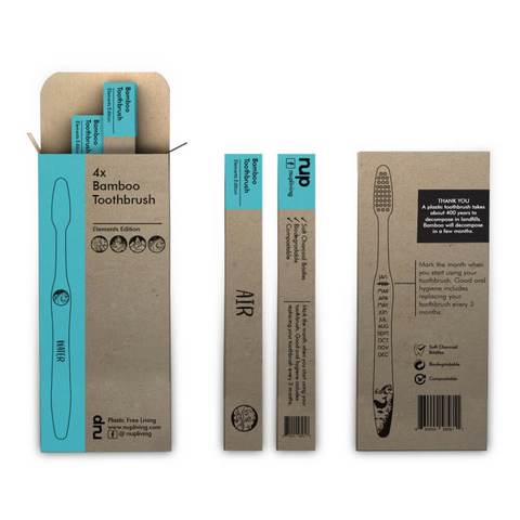 Image of brown craft paper packaging of bamboo toothbrushes showing explanation and product information
