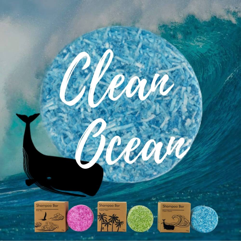 clean ocean blue shampoo bar with brown craft paper packaging