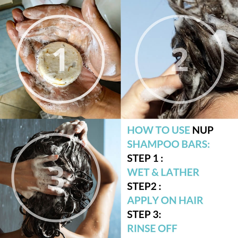 three step instruction on how to wash your hair with a shampoo bar