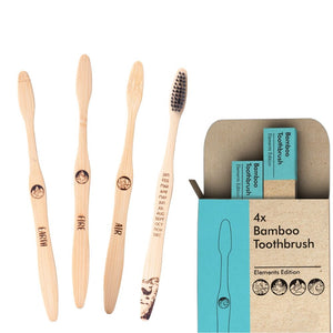 4x Elements Bamboo Toothbrush