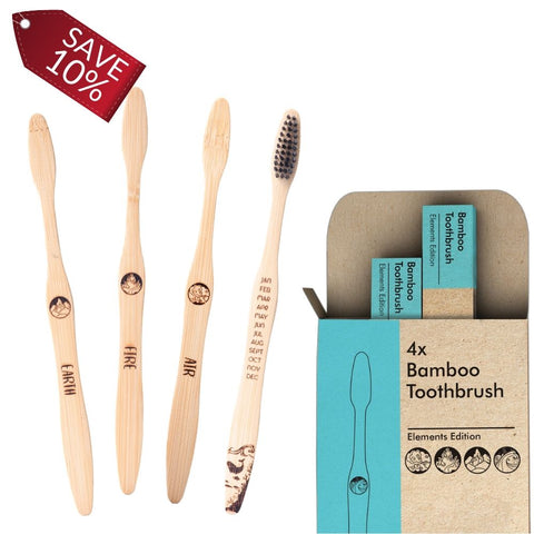 Image of 2 Packs - Bamboo Toothbrush Elements Edition 4x