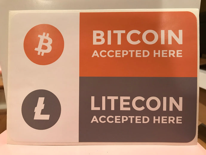 BITCOIN LITECOIN ACCEPTED HERE WINDOW DECAL