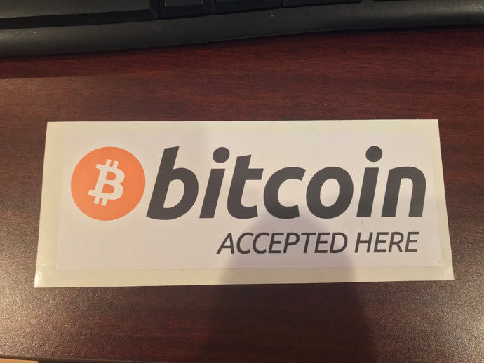 (2) Bitcoin Accepted Here Window Decals