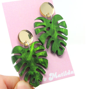 Gold & Green Monstera Leaves