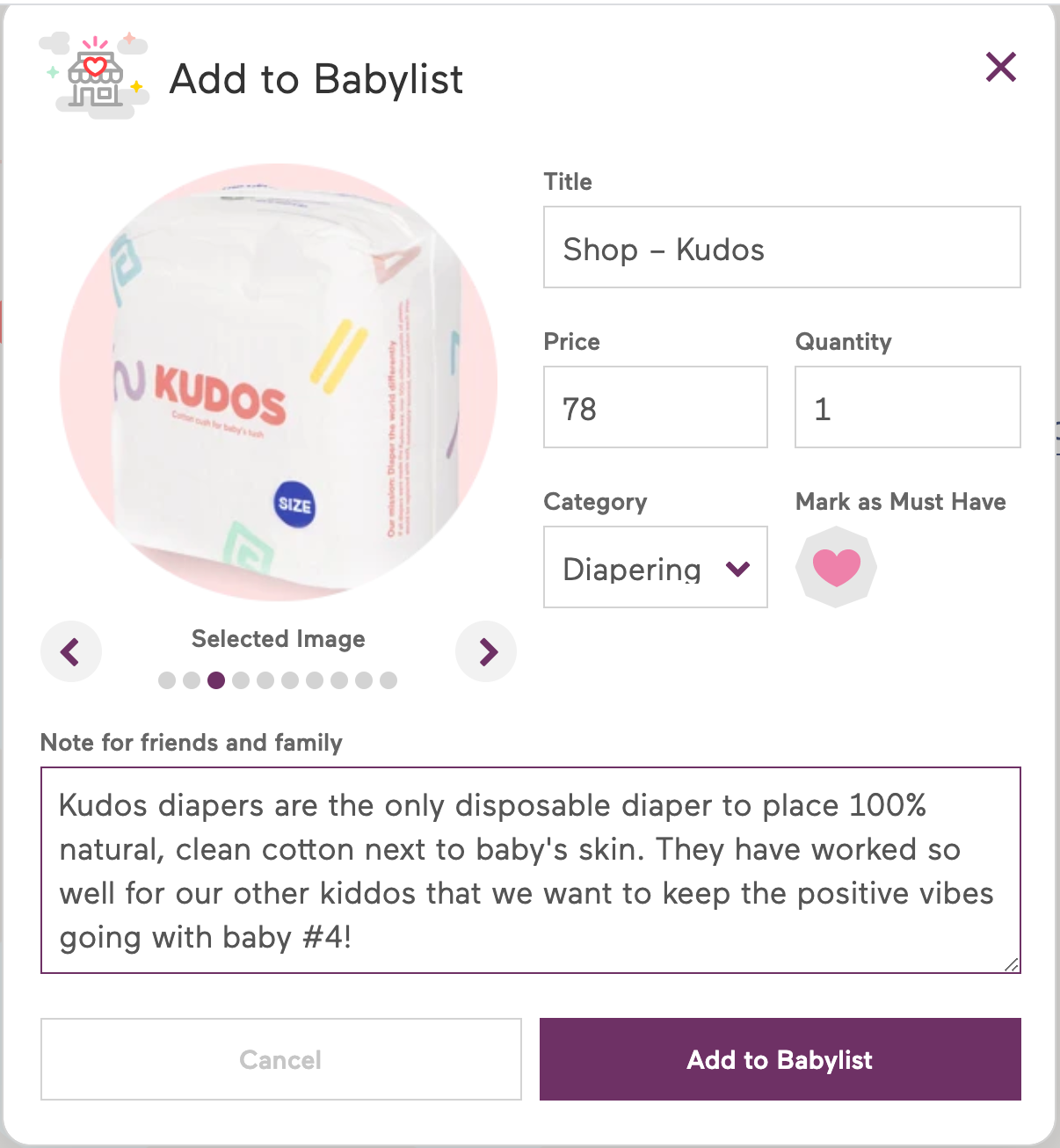 Add Kudos diapers to babylist baby registry