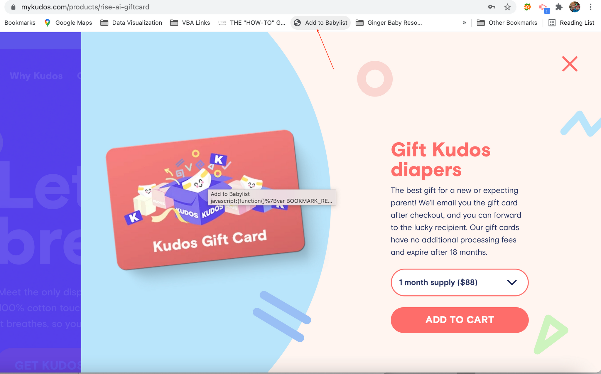 Clicking the add to babylist button to put Kudos diapers on baby registry