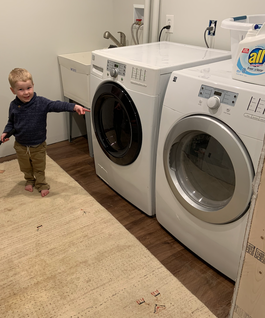 My oldest son was proud of our new laundry room space. If only he knew how much effort his mom was putting into attempts at diaper laundry!