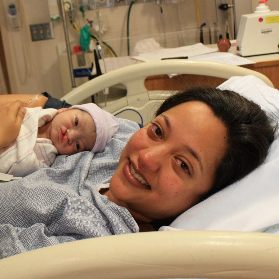 Meera and her baby after labor
