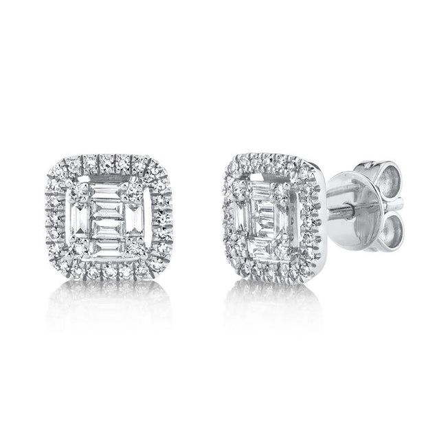 Diamond Baguette Stud Earring