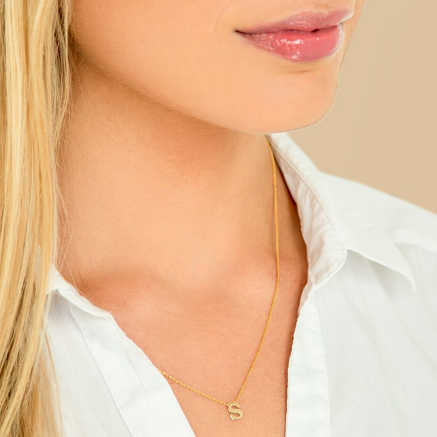 Letter Name Necklace -14k Gold.
