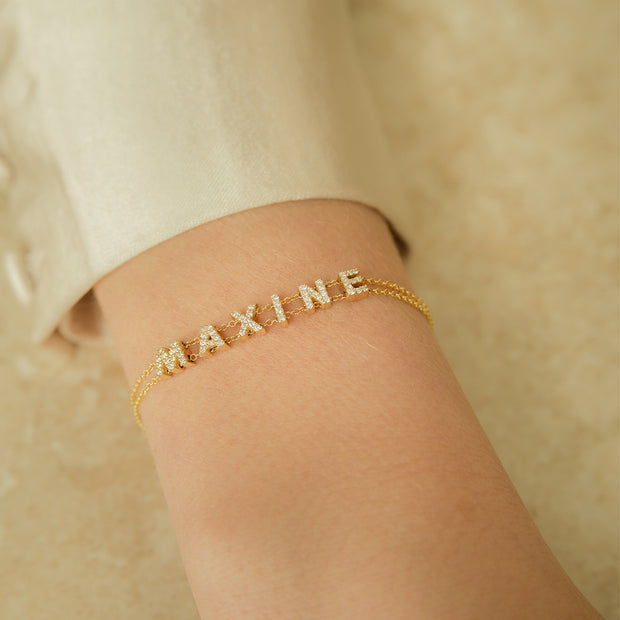 Dainty Diamond Letter Double Chain Bracelet
