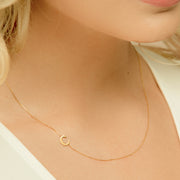 Side Initial Letter Necklace