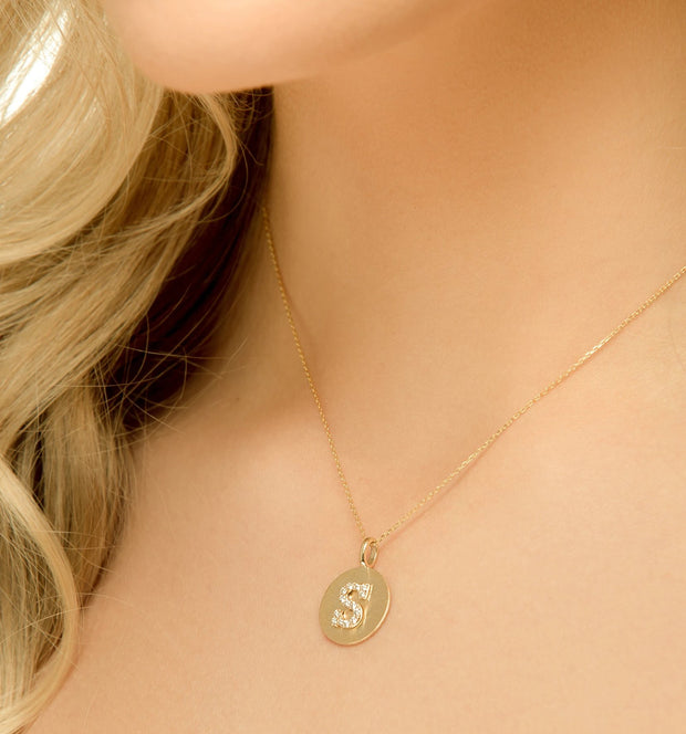 14K Gold Diamond Letter Medallion