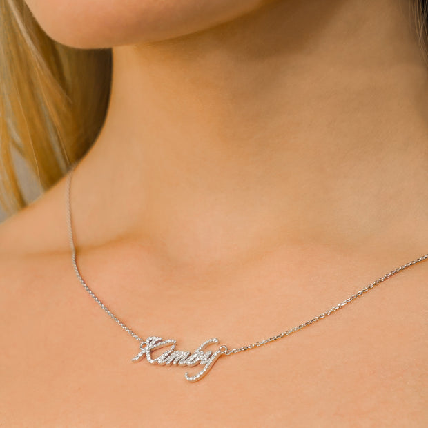 Diamond Nameplate Necklace (Earth-Mined VS Clarity F G Color Diamonds)