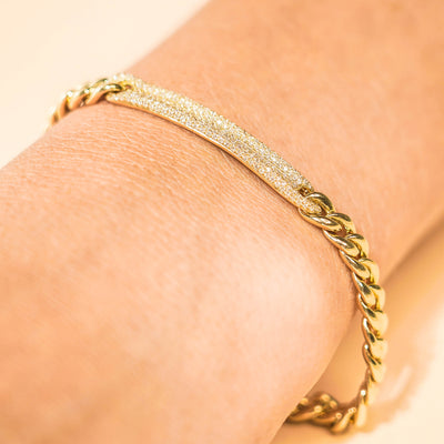 Cuban Link Diamond Bar Bracelet