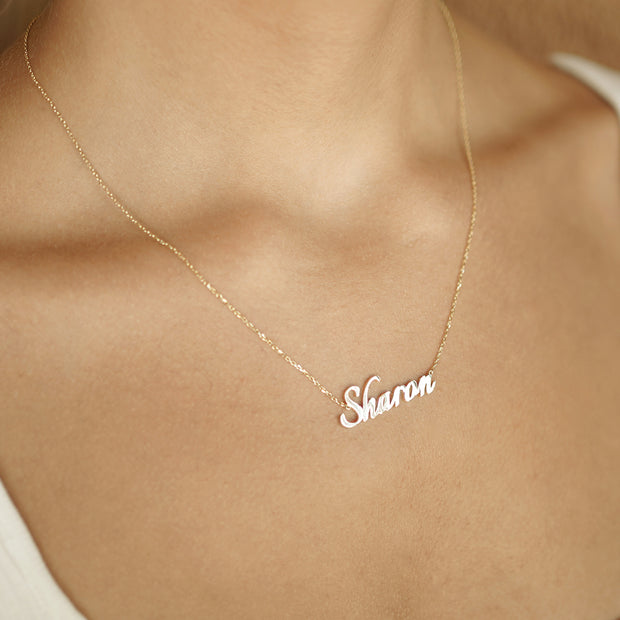 14k Gold Nameplate Necklace