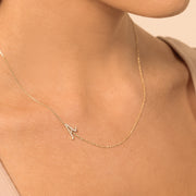 Large Cursive Initial Diamond Necklace
