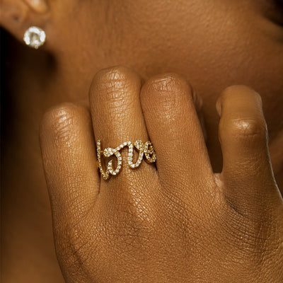 Cursive Diamond Love Ring