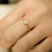 Dainty Diamond Pave Heart Ring