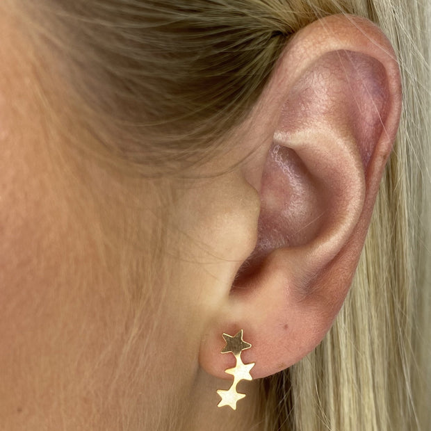 Three Star Gold Earrings