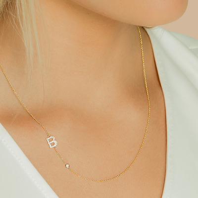 14K Gold Initial Bezel Diamond Necklace