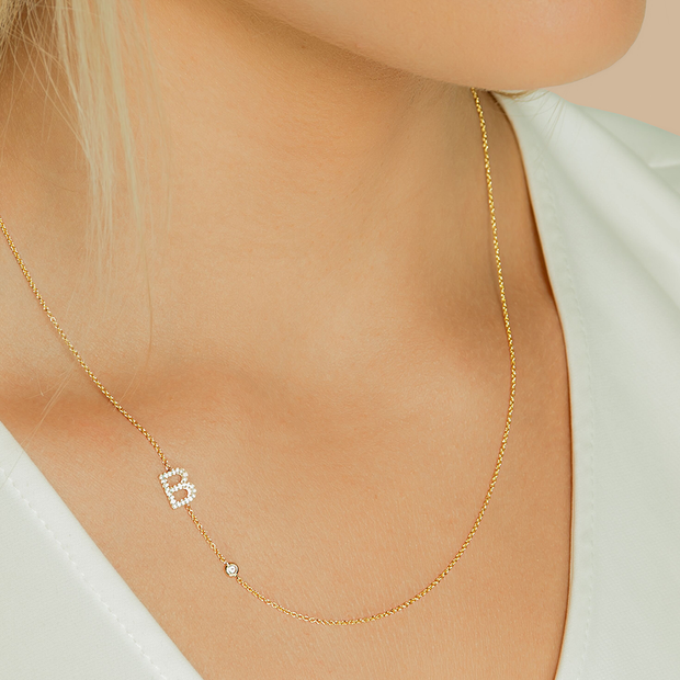 14K Solid Gold Initial Bezel Diamond Necklace