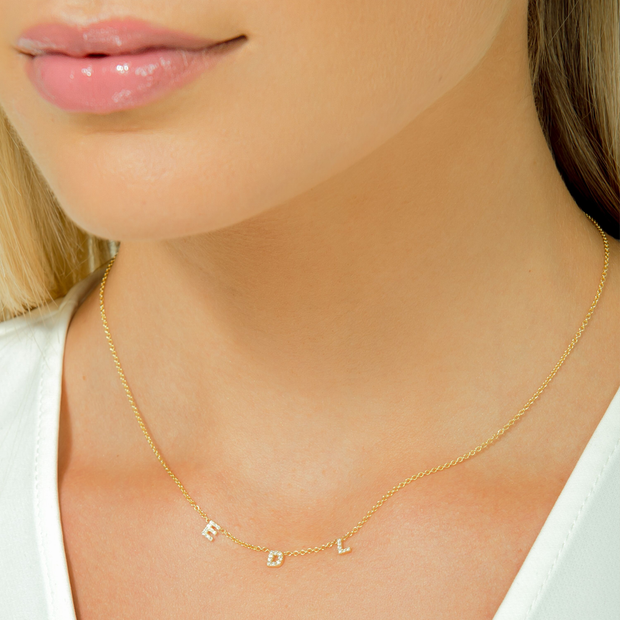 Dainty Diamond Letter Necklace