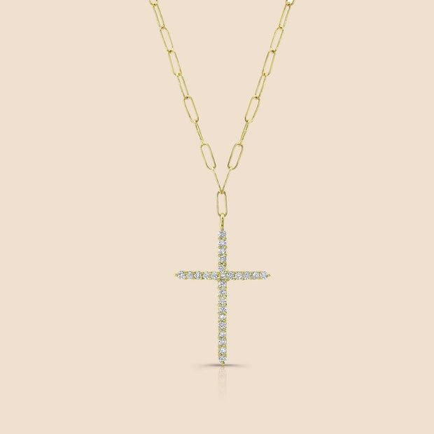 Diamond Cross Link Chain Necklace