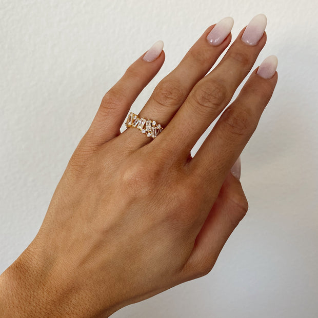 White Staggered Baguette Ring