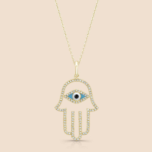 Diamond Hamsa Eye Necklace.