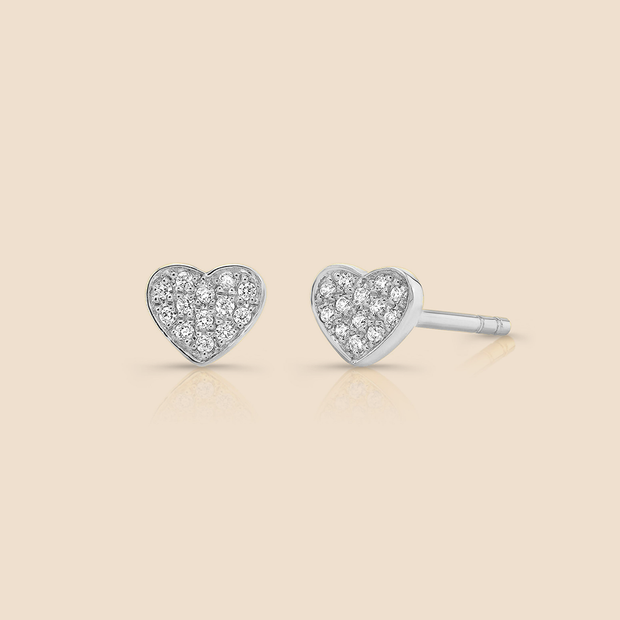 Mini Heart Diamond Studs