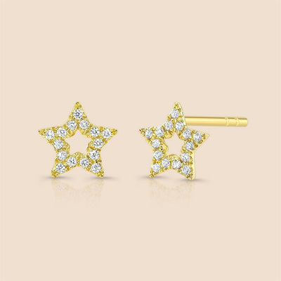 Outline Star Diamond Studs Earring