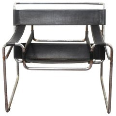 "Mid Century Modern Marcel Breuer ""Wassily"" Chairs in Chrome and Black Leather"