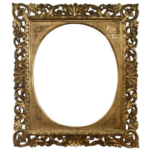 Florentine Style Italian Carved Frame in Gold with Leafs and Shells, 1885